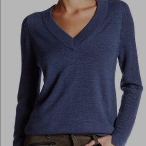 Rag & Bone Valreen merino wool blue v-neck sweater